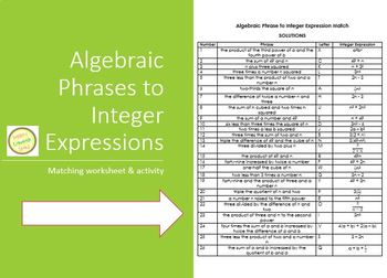 Expressions Match Worksheet - Algebraic Phrases to Integer Expressions