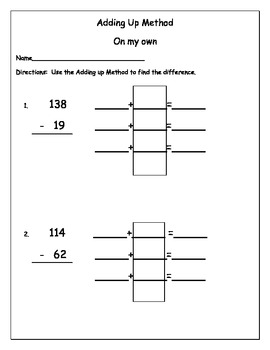Expressions Math grade 2 subtraction using the adding up method