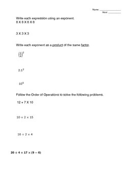 Expressions Mathematics Study Guide