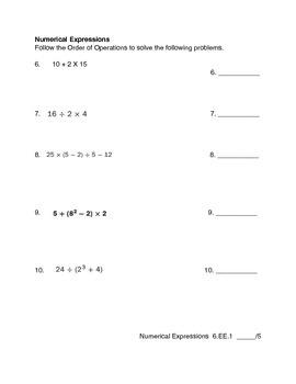 Expressions Mathematics Test