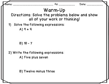Expressions Notes and Practice Resources