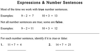 Expressions & Number Sentences, 3rd grade - Individualized Math - worksheets