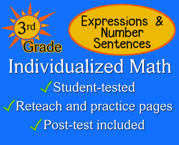 Expressions & Number Sentences, 3rd grade - worksheets - Individualized Math