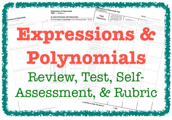 Expressions & Polynomials (Review & TEST - 2 Versions)