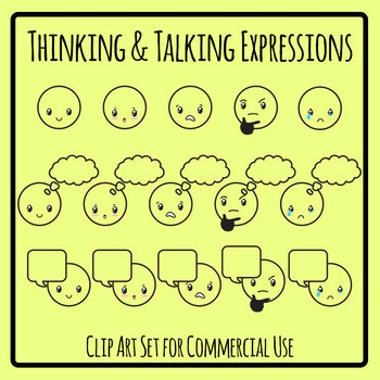 Expressions - Talking and Thinking Clip Art Set for Commercial Use