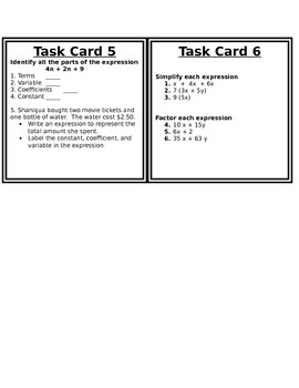 Expressions Task Cards