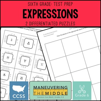 6th Grade Math Test Prep Expressions Puzzles