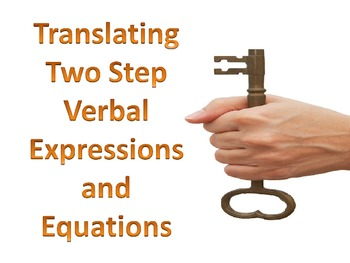 Expressions:  Translating Two Step Verbal Algebraic Expressions and Equations
