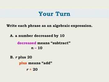 Expressions:  Translating Verbal Algebraic Expressions and Equations