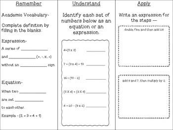 Expressions Tri-fold Common Core Standard 5.OA.2