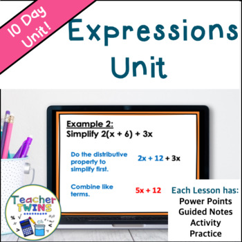 Expressions Unit Common Core 6.EE.1, 6.EE.2, 6.EE.3, 6.EE.4, and 6.EE.6