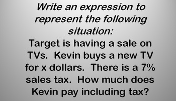 Expressions Unit Review Game: expressions, factoring, word problems, properties