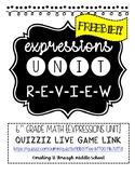 Expressions Unit Review {Quizizz Live} Game & Handout