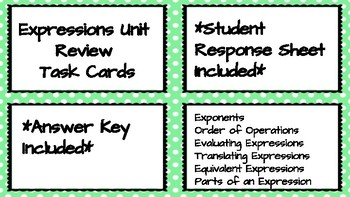 Expressions Review Task Cards