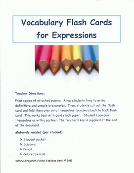 Expressions Vocabulary Flashcards