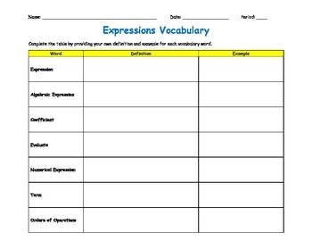 Expressions Vocabulary Graphic Organizer