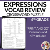 Expressions Vocabulary Math Crossword Puzzle