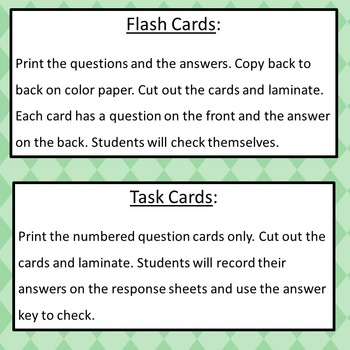 Writing Algebraic Expressions Flash Cards  6.EE.2