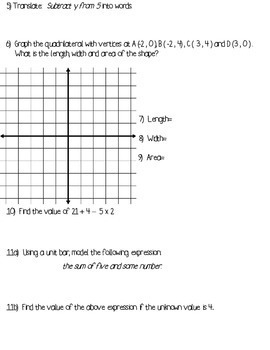 Expressions and Coordinate Plane Mini Assessment