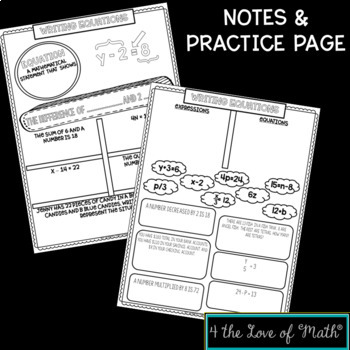 Expressions and Equation No Prep Note Page Bundle