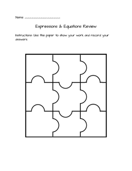 Expressions and Equations Review and Test