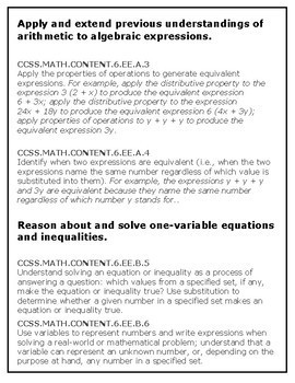 Expressions and Equations:  Complete Packaged Unit: 6.EE.1-9