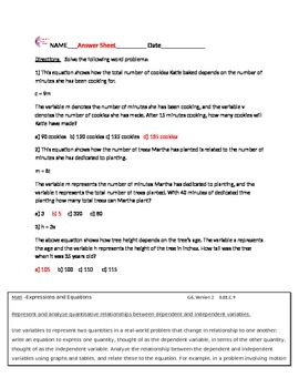 Expressions and Equations 6.EE.C.9 Common Core Math Worksheets
