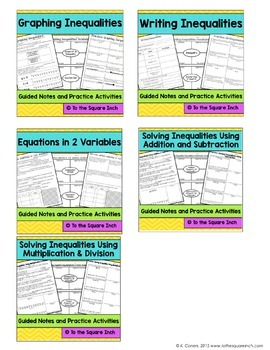 Expressions and Equations- 6th Grade Math Guided Notes and Activities Bundle