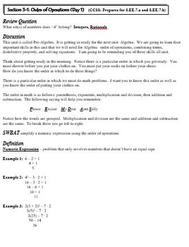 Expressions and Equations:  8th Grade CCSS Pre-Algebra Unit