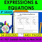 Expressions and Equations- 8th Grade Math Guided Notes and Activities Bundle