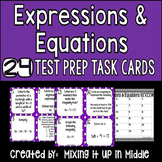 Expressions and Equations:  Algebra 6th Grade CCSS Review Test Prep Task Cards