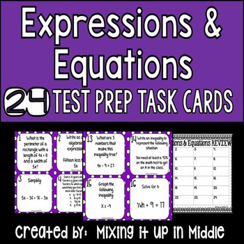 Expressions and Equations:  Algebra 6th Grade CCSS Review