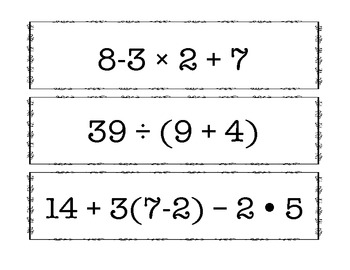 Expressions and Equations Algebra Scoot and Compute Pack