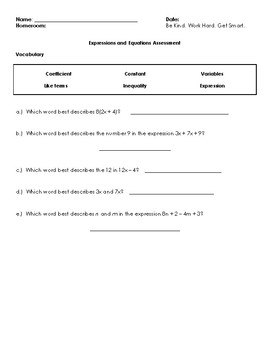 Expressions and Equations Assessment