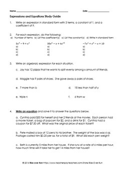 Expressions and Equations Assessment Pack, Common Core