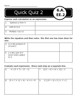 Expressions and Equations Assessments: 6.EE.1-9