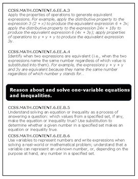 Expressions and Equations Bundle: 6.EE.1-9