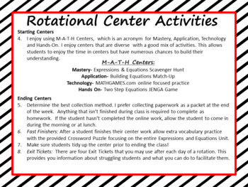 Equations Center Activities