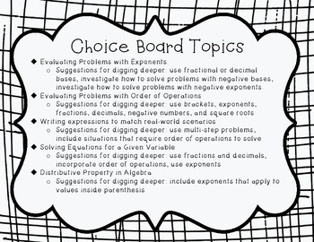 Expressions and Equations Choice Board Activity