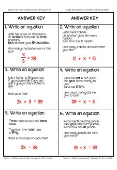 Expressions and Equations Cooperative Learning Activities