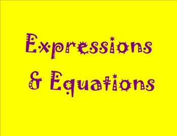 Expressions and Equations: Deffinitions