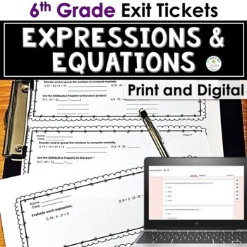 Expressions and Equations Exit Tickets for 6th Grade