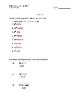 Expressions and Equations Exponets worksheet 6.EE.1