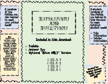 Expressions and Equations FOLDABLE 6.EE.A.1, 6.EE.A.2, 6.EE.A.3 Version 1
