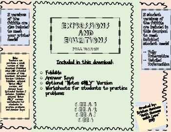 Expressions and Equations FOLDABLE, NOTES, and WORKSHEETS Full Version w/ Vocab.