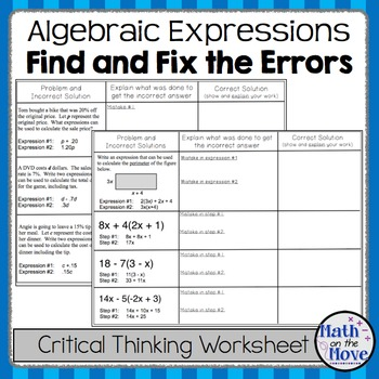 Printables of Common Thinking Errors Worksheet - Geotwitter Kids ...