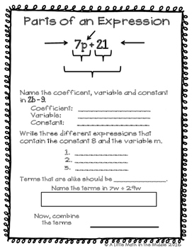 Expressions and Equations ISN Notes and Task Cards TEKS 6.7B
