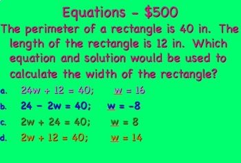 Expressions and Equations Jeopardy Review~ 7th Grade Math
