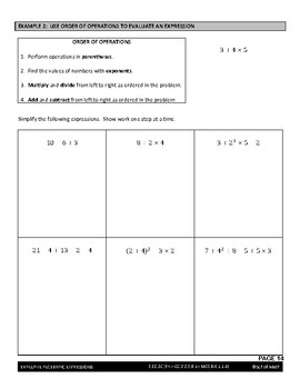Expressions and Equations Lesson - Evaluate Algebraic Expressions