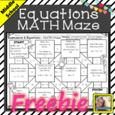 Expressions and Equations Math Maze Freebie